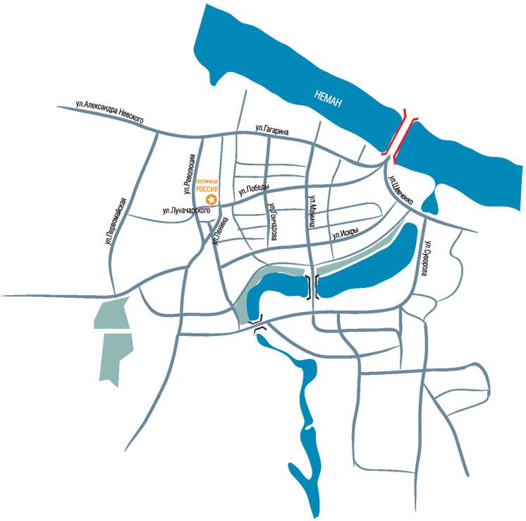 Советск, Схема города